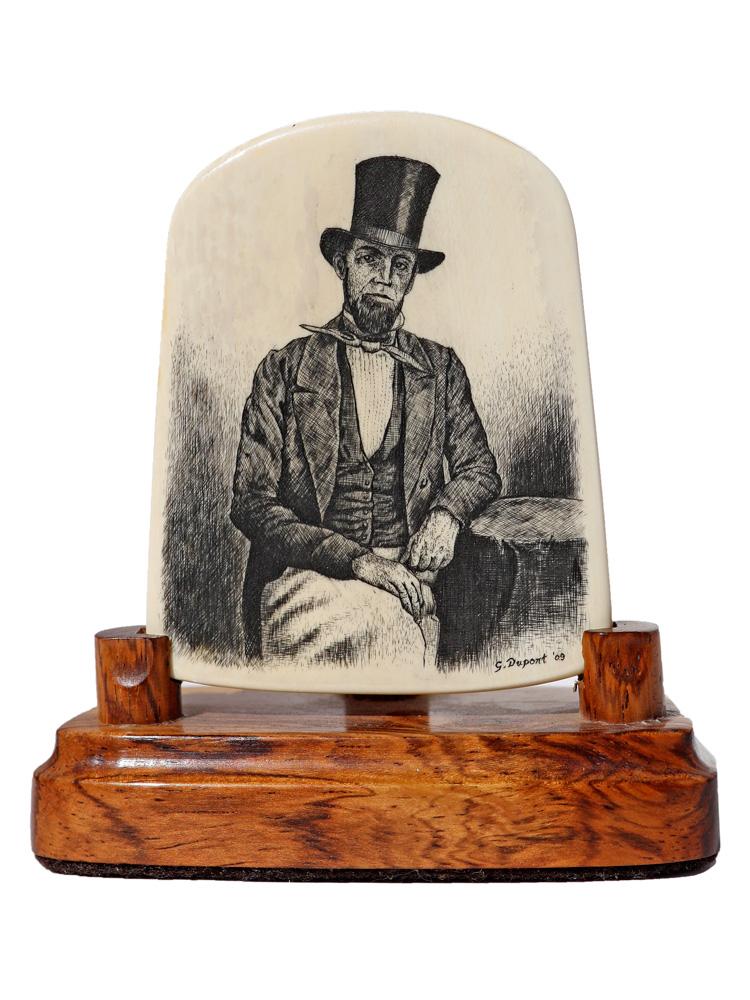 Gerry Dupont Scrimshaw - Edward S. Davoll, Whaleship Captain c.1850