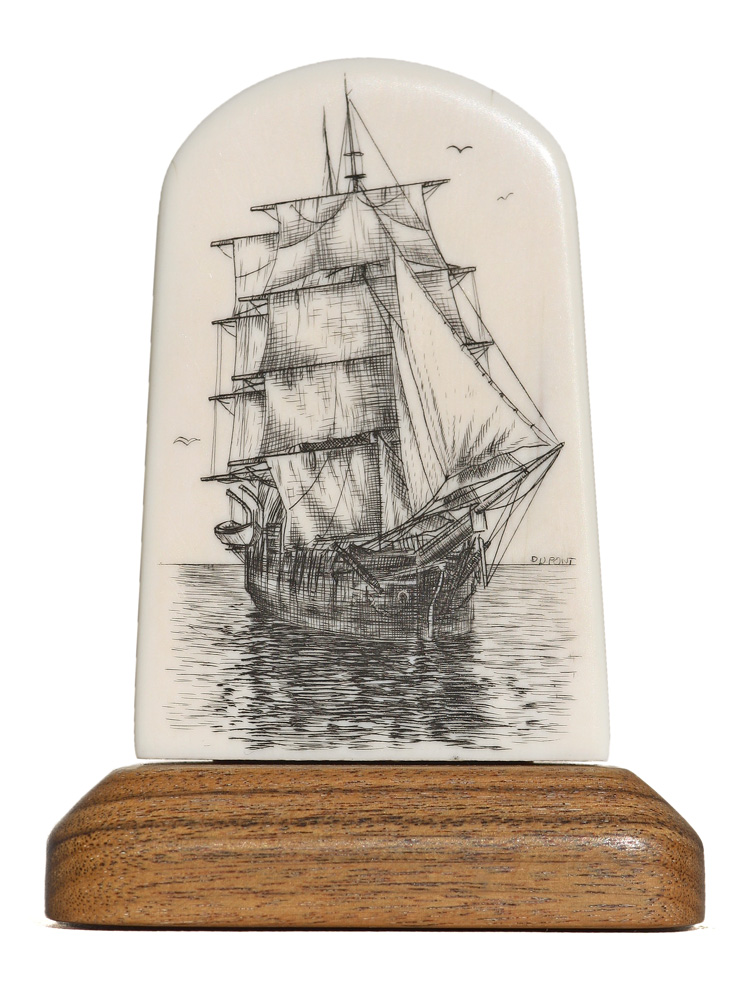 Gerry Dupont Scrimshaw - Becalmed Clipper