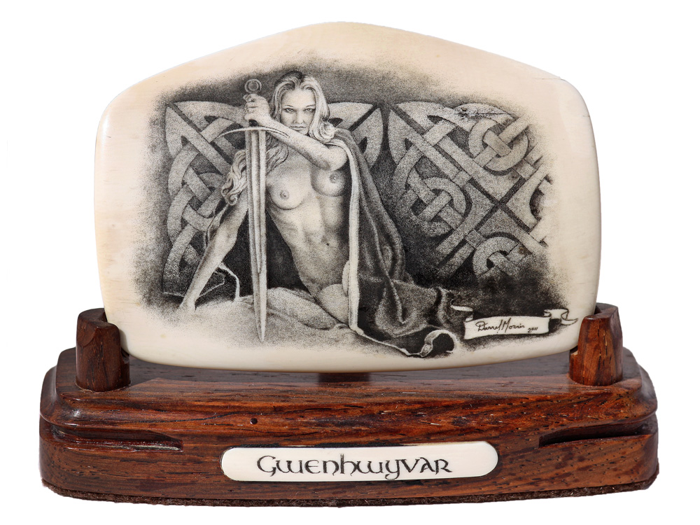 Nude Woman Scrimshaw Usa Trapper Knife Sexy Erotic Drawing Etching Sculpture