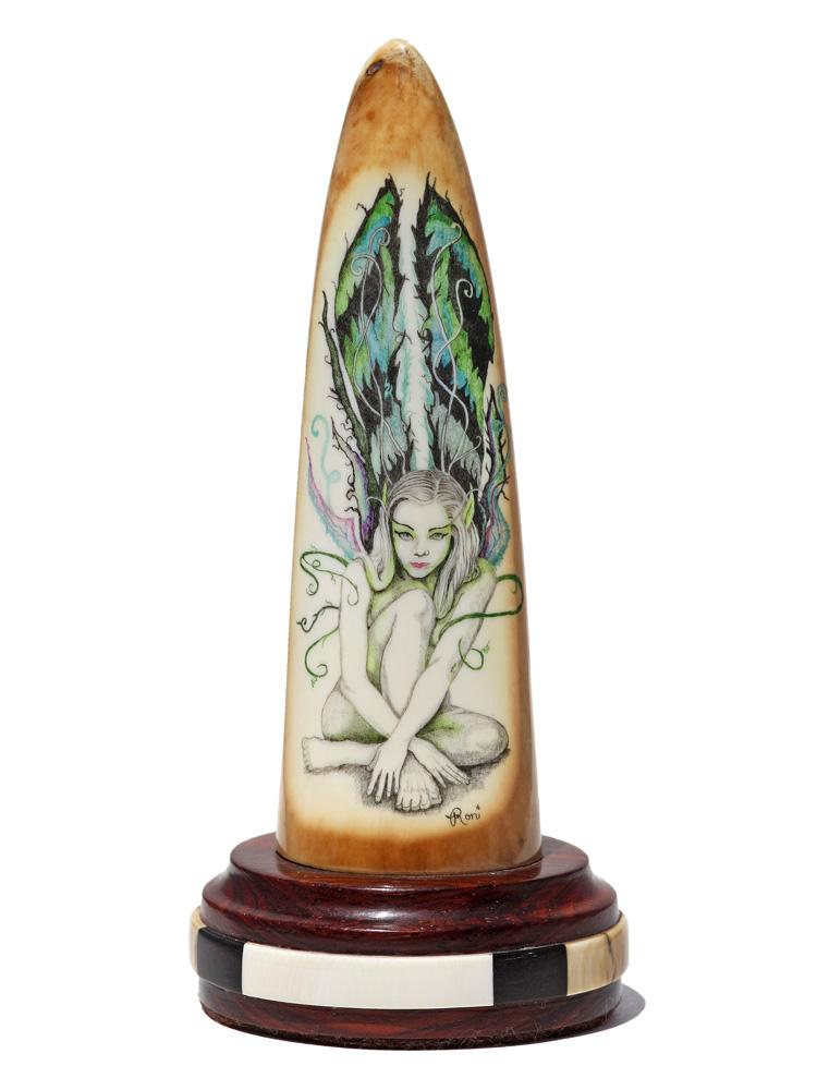 Roni Dietrich Scrimshaw - Green Winged Fairy