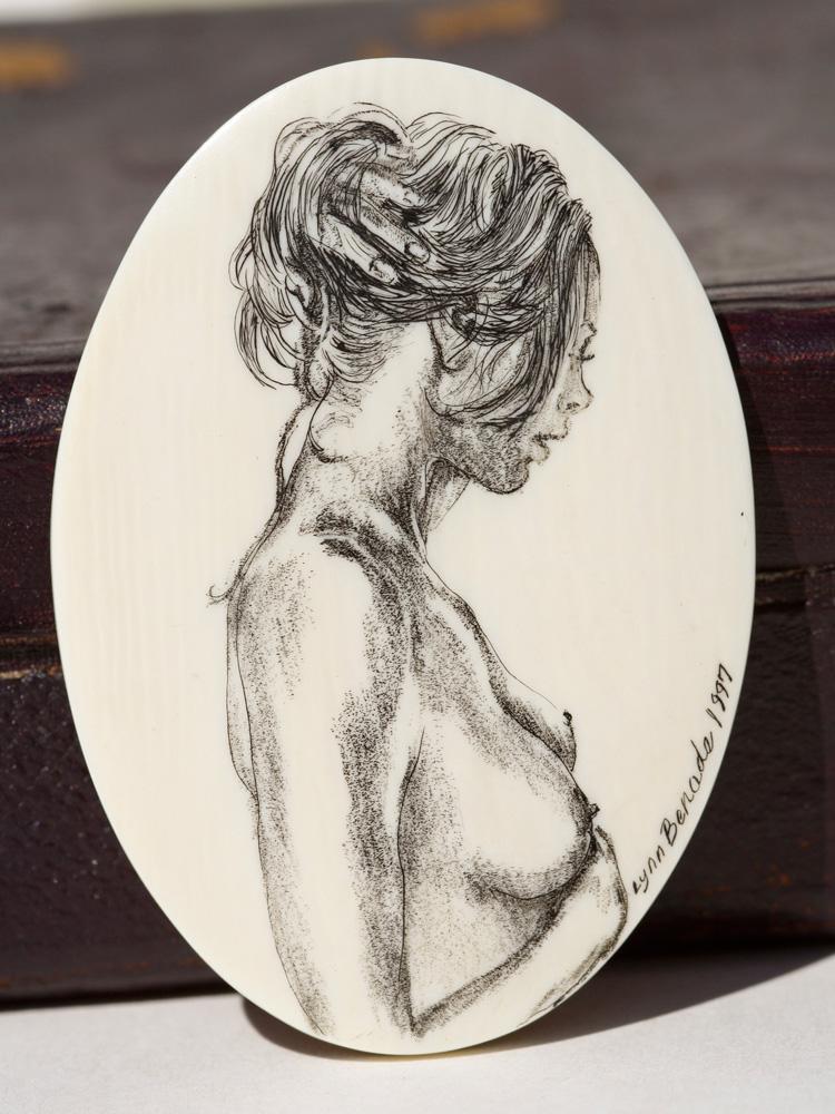 Lynn Benads Scrimshaw - Nude in Profile
