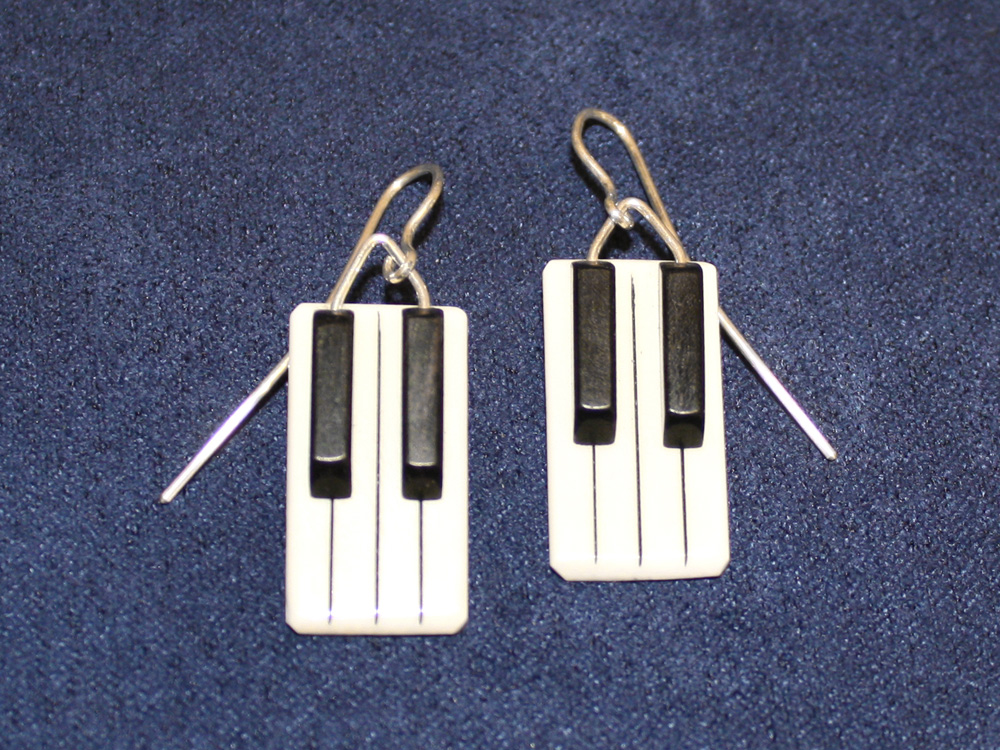 Jay Jackson - Piano Keyboard Ivory Earrings