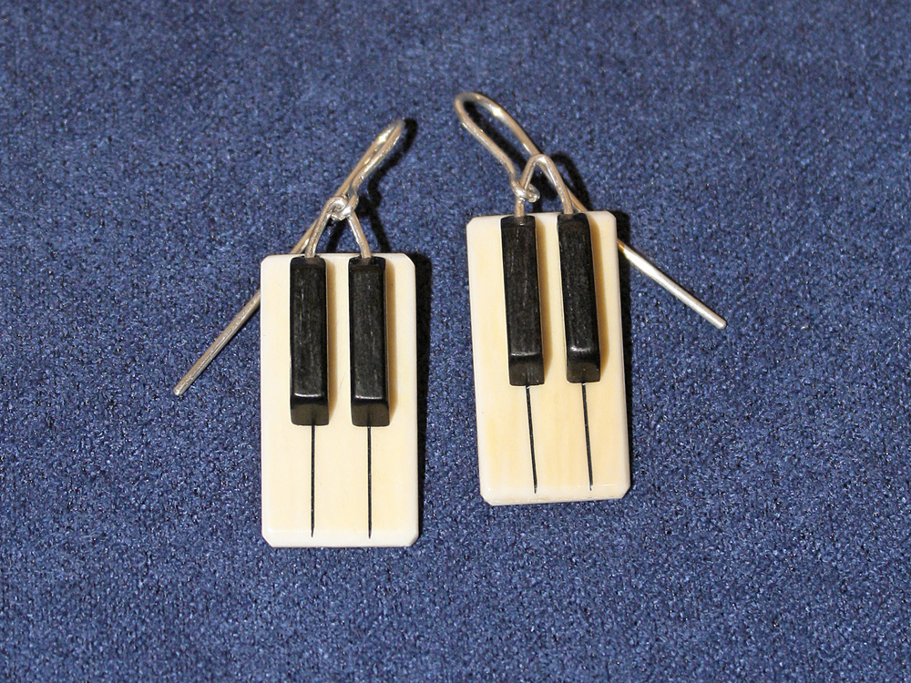 Jay Jackson - Piano Keyboard Ivory Earrings