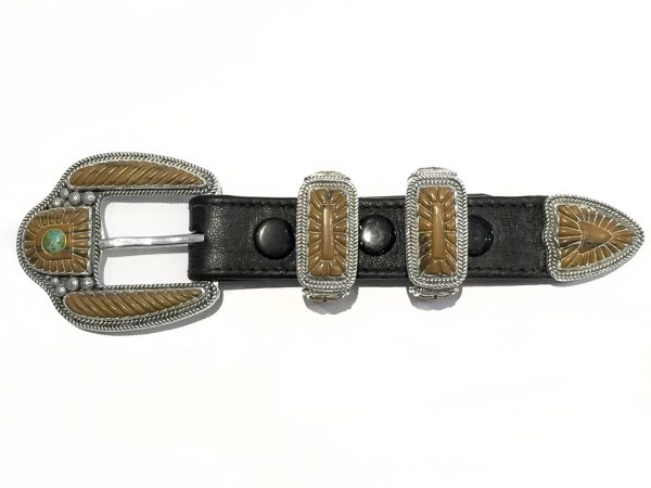 "Custom Mammoth and Sterling ""Ranger"" Belt Buckle Set"
