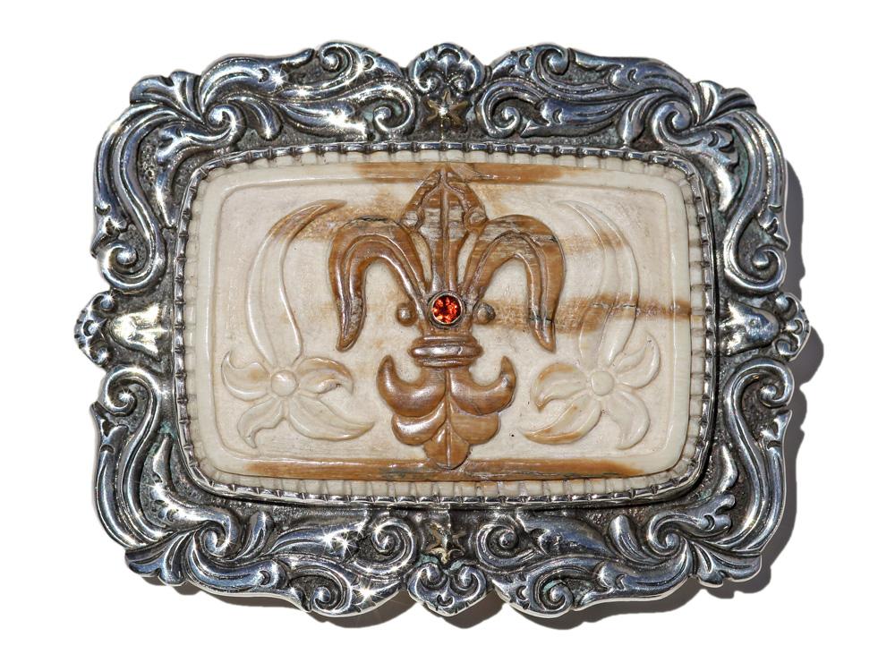 Fluer de Lys Mammoth Ivory Belt Buckle