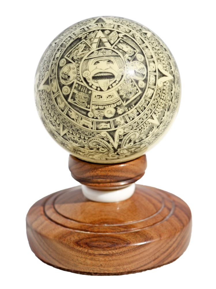 Scrimshaw - Mayan Calandar Globe