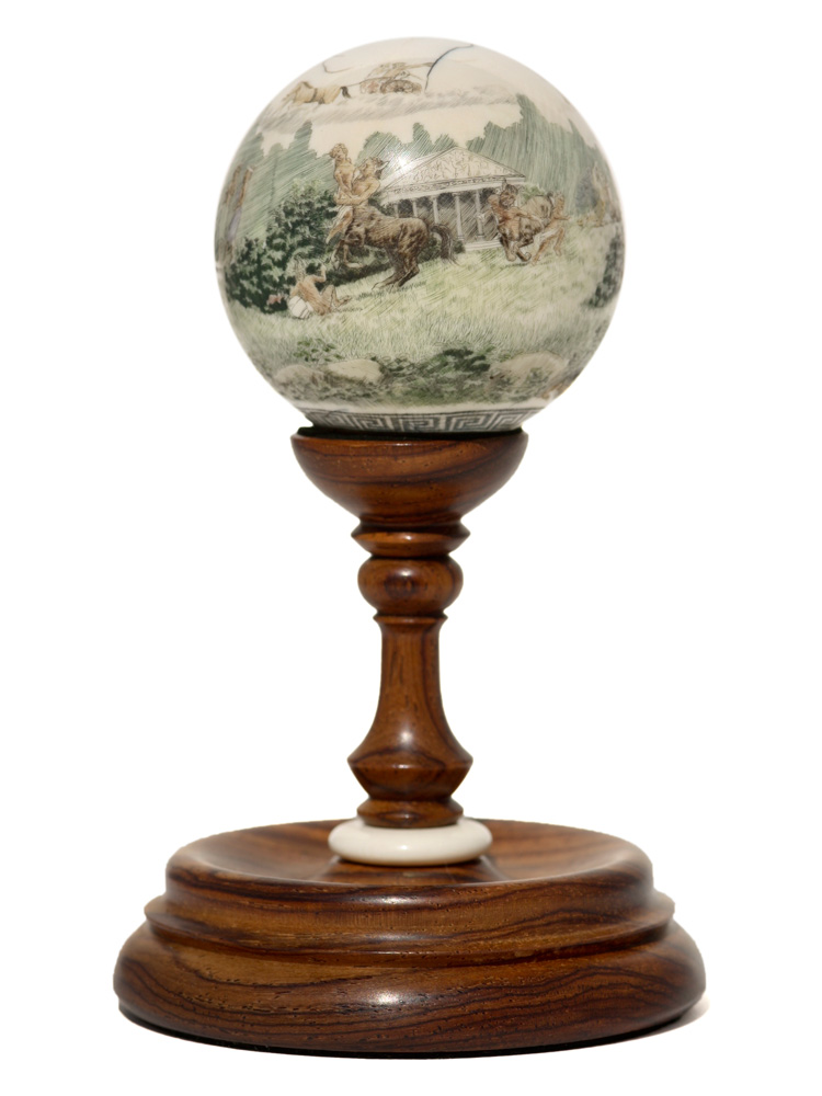 Scott Judge Scrimshaw - Greek Globe