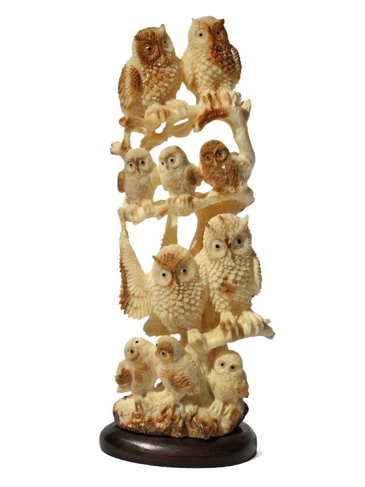 - Large Owl Family Carving