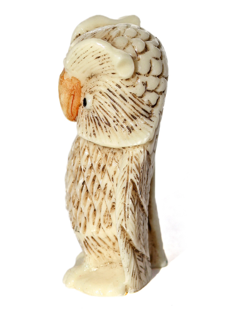 Unknown artist stoic owl bone carving scrimshaw collector
