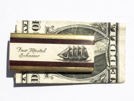 Scrimshaw Money Clip - Four Masted Barkentine