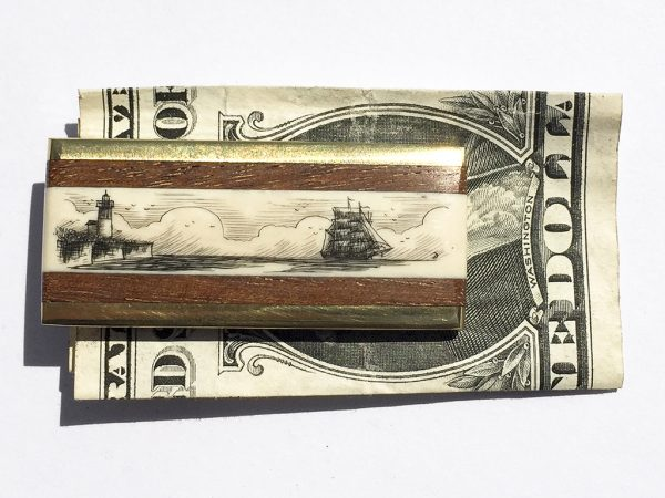 Scrimshaw Money Clip - Lighthouse and Ship