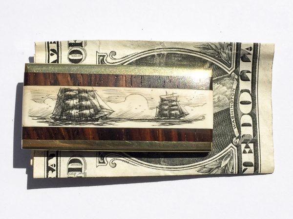 Scrimshaw Money Clip - Two Ships