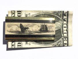 Scrimshaw Money Clip - Breaching Whale