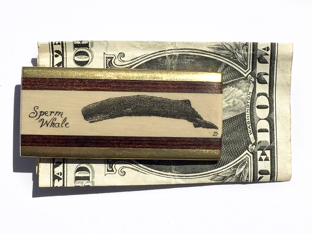 Scrimshaw Money Clip - Sperm Whale