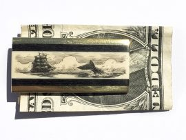 Scrimshaw Money Clip - Escaping Whale