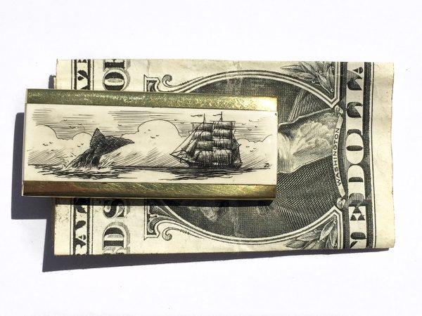 Scrimshaw Money Clip - Escaping Whale