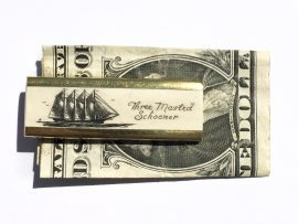 Scrimshaw Money Clip - Four Masted Schooner