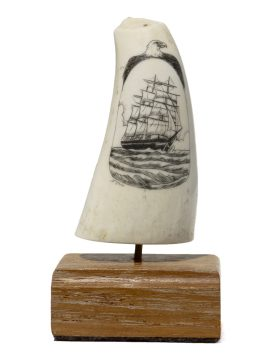 S. J. Wainwright Scrimshaw - Ship with Eagle
