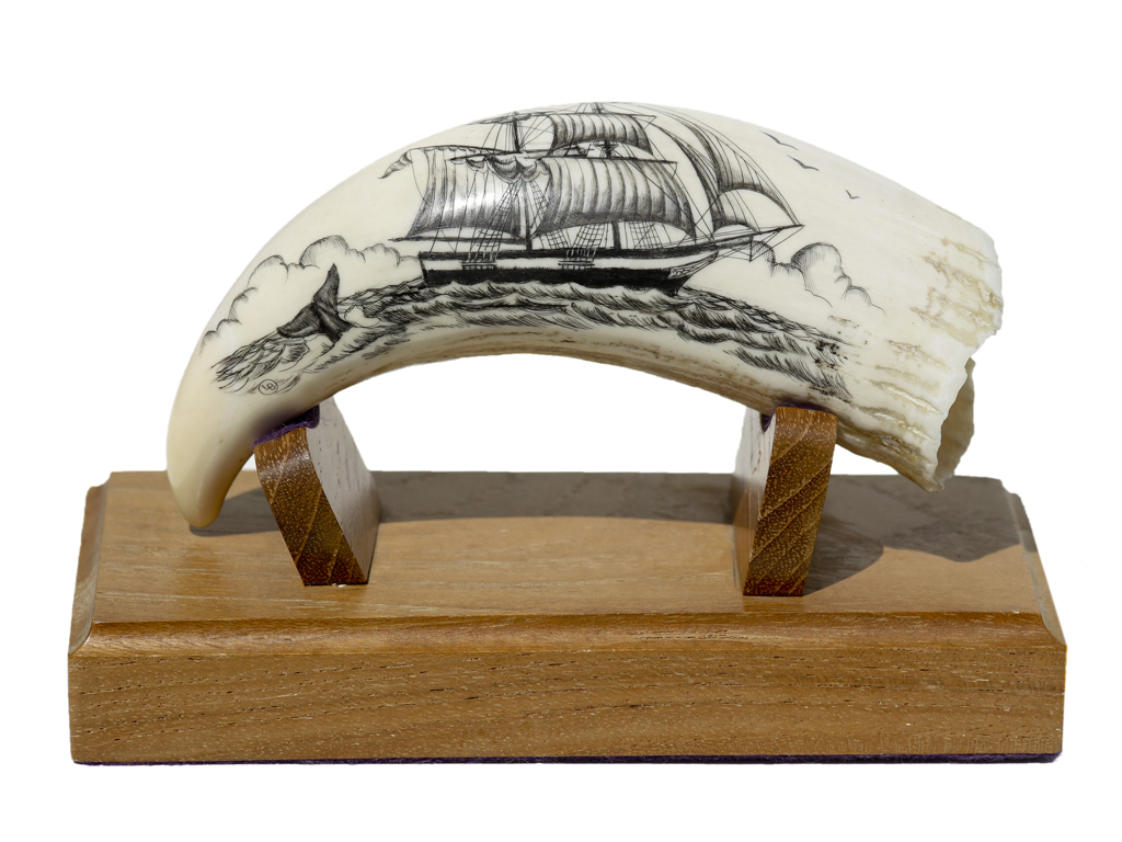 L.B. Scrimshaw - Cargo Ship and Whale Fluke