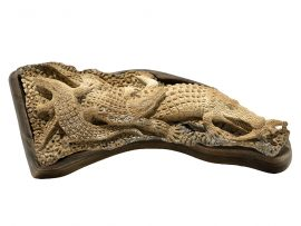 Unknown Artist - Fossil Walrus Jawbone Carving - Alligator Carving