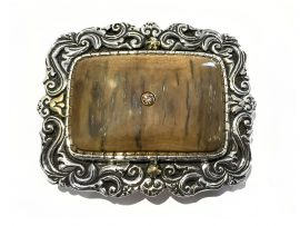 Custom Sterling Silver & Mammoth Ivory Belt Buckle