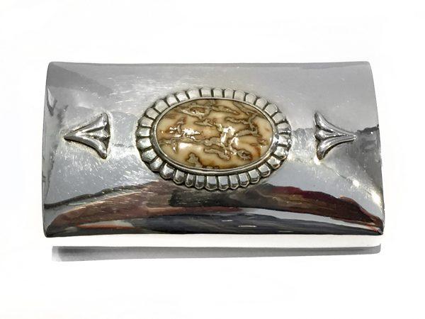 Custom Sterling Silver & Mammoth Ivory Belt Buckle