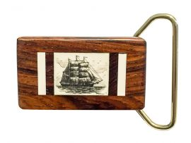 Scrimshaw Mammoth Ivory Belt Buckle