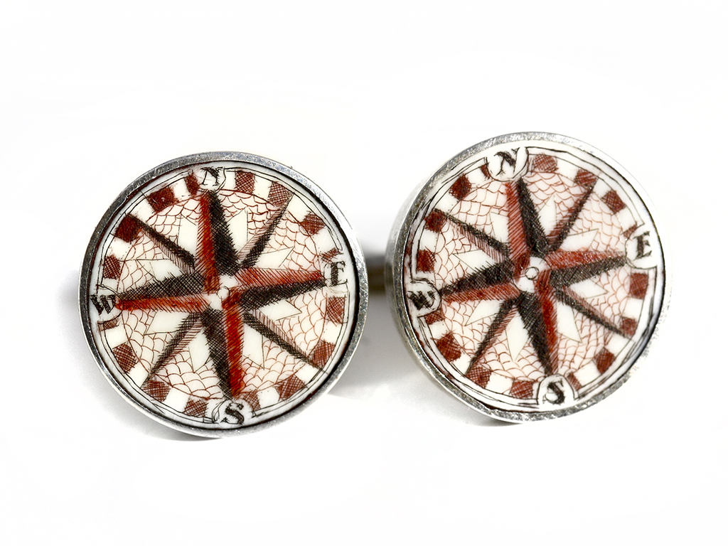 Scrimshaw Cufflinks - Compass Rose