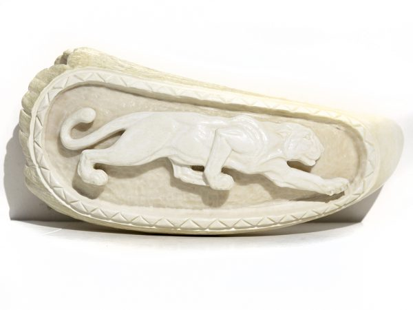 Armando Ramos Whale's Tooth Carving - Leopard