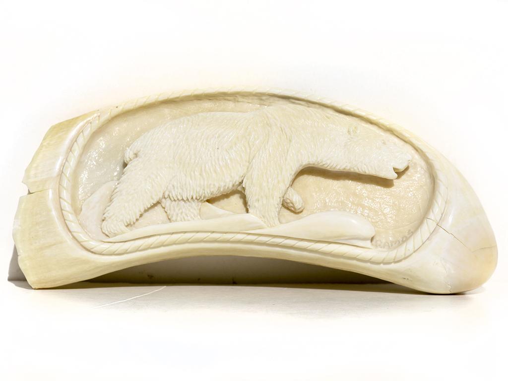 Armando Ramos Whale's Tooth Carving - Polar Bear
