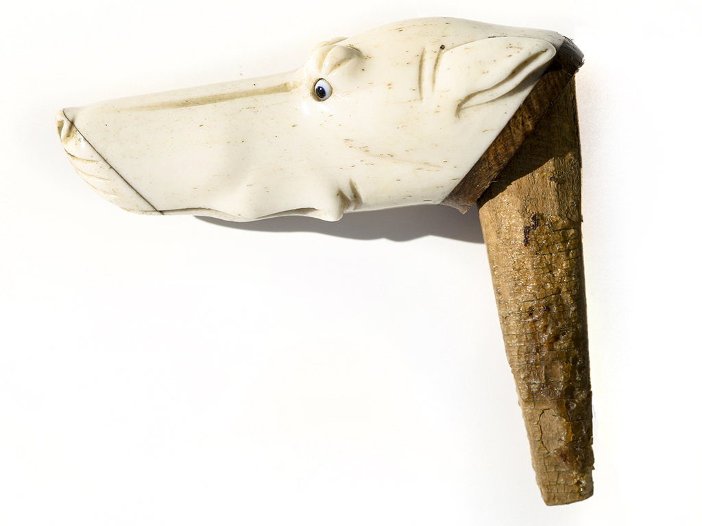 Carved Whalebone Walking Stick Handle - Unknown Artist