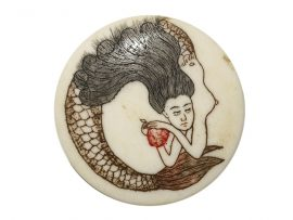 Unknown Artist - Mermaid Ivory Button