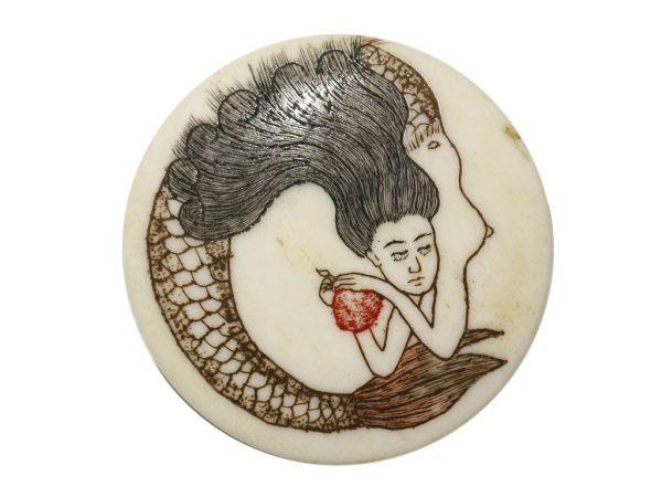 Unknown Artist - Mermaid Ivory Button