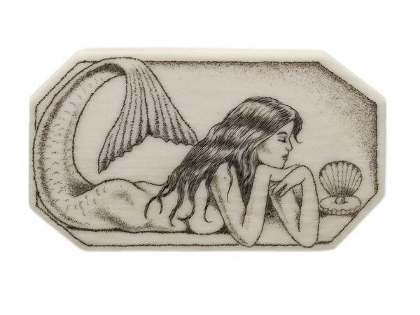 Howard Thomas Scrimshaw - Pensive Mermaid Ivory Button