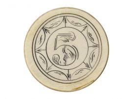 Number 5 Antique Ivory Poker Chip