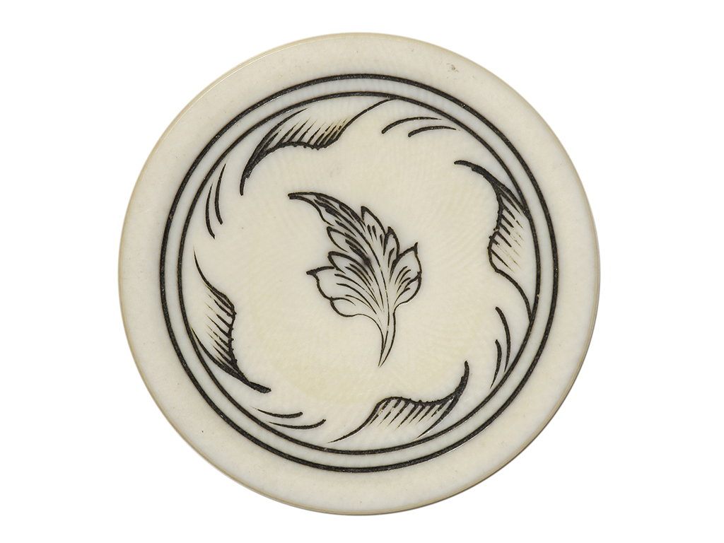 Single Leaf Ivory Poker Chip