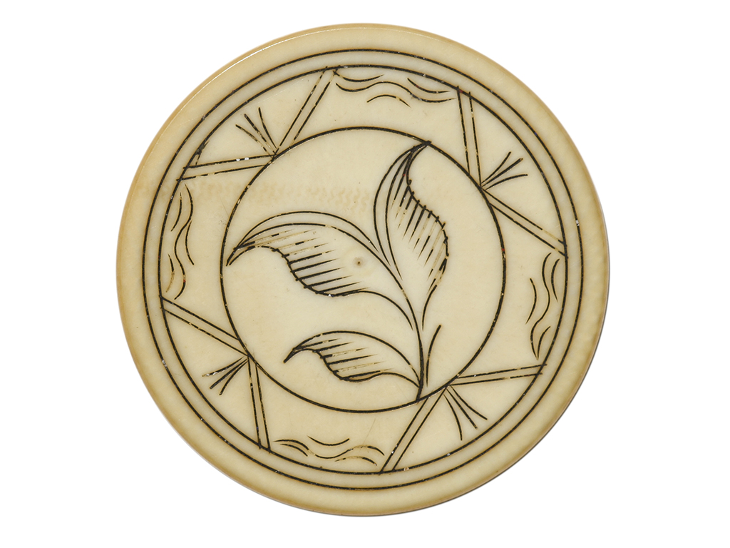 Three Leaf Ivory Poker Chip