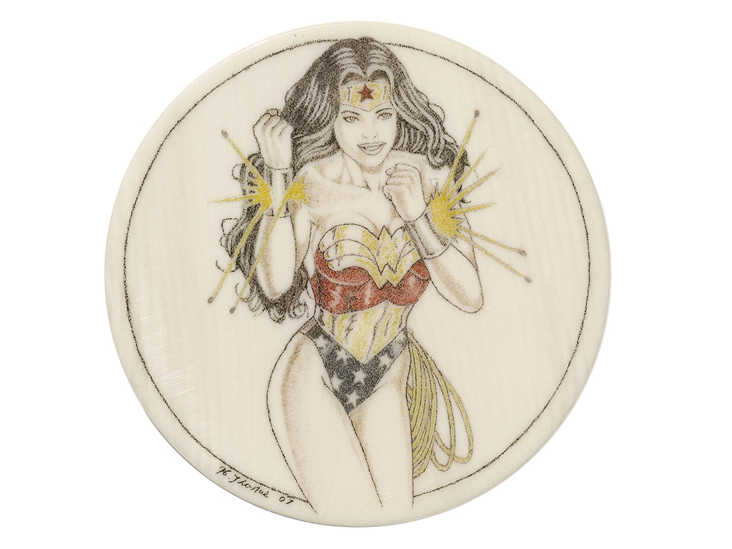 Howard Thomas Scrimshaw - Wonder Woman Ivory Poker Chip