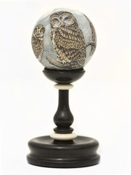 Matt Stothart Scrimshaw - Full Moon Owl Family