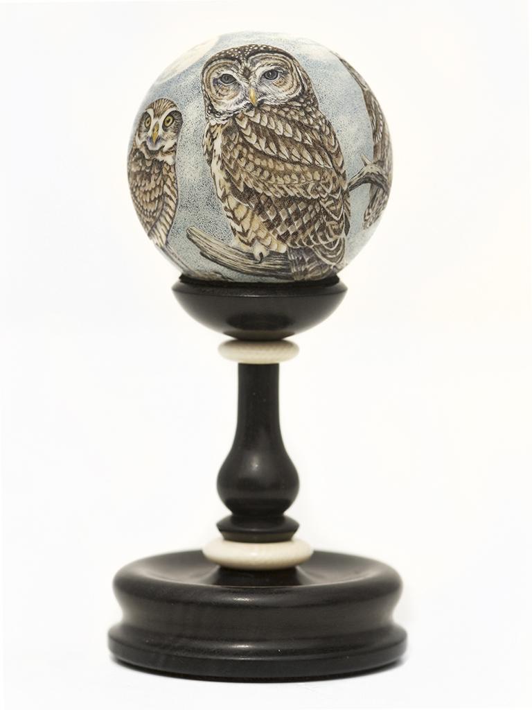 Matt Stothart Scrimshaw - Full Moon Owl Family