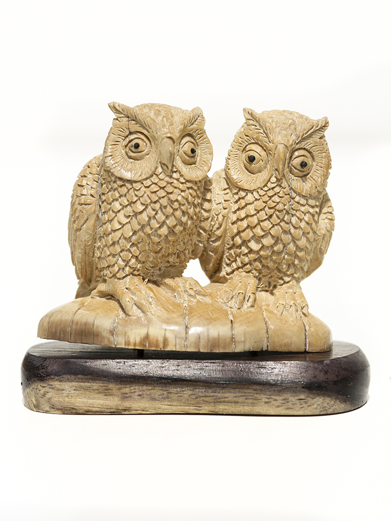 Mammoth ivory carving owl pair scrimshaw collector