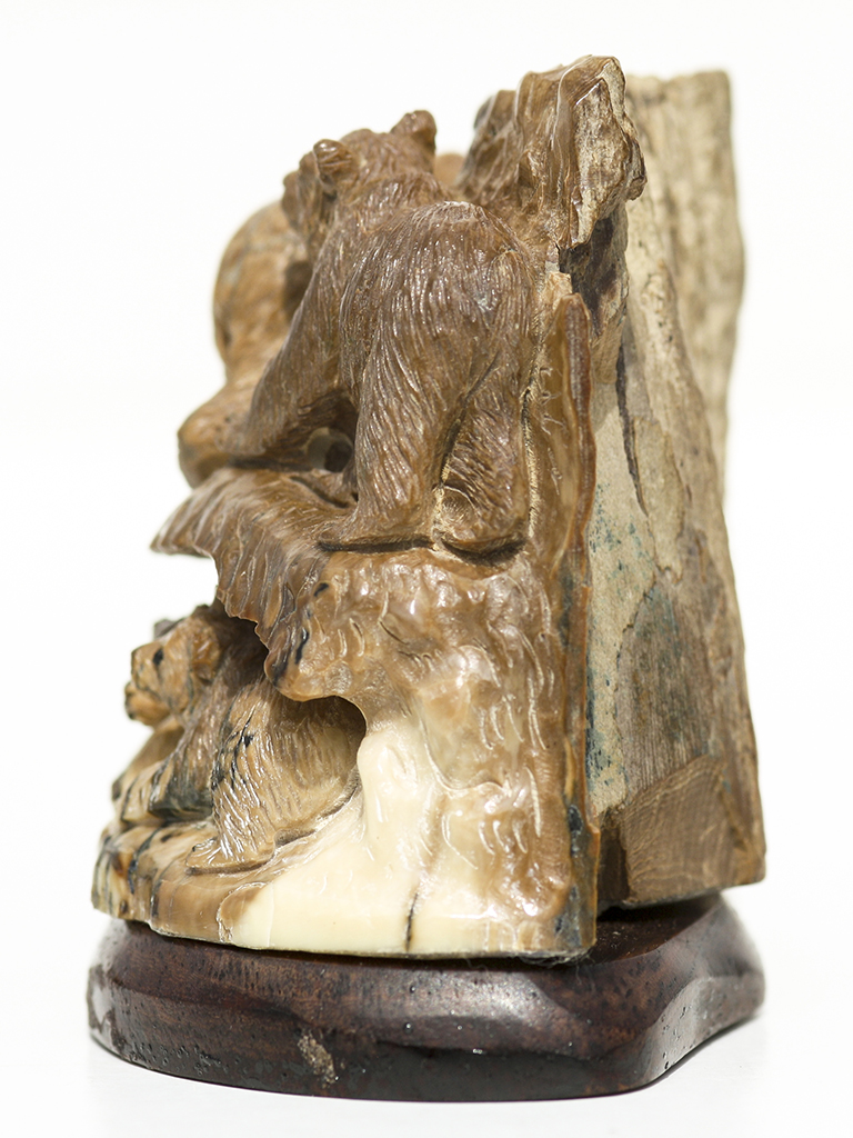 Mammoth ivory carving bears scrimshaw collector