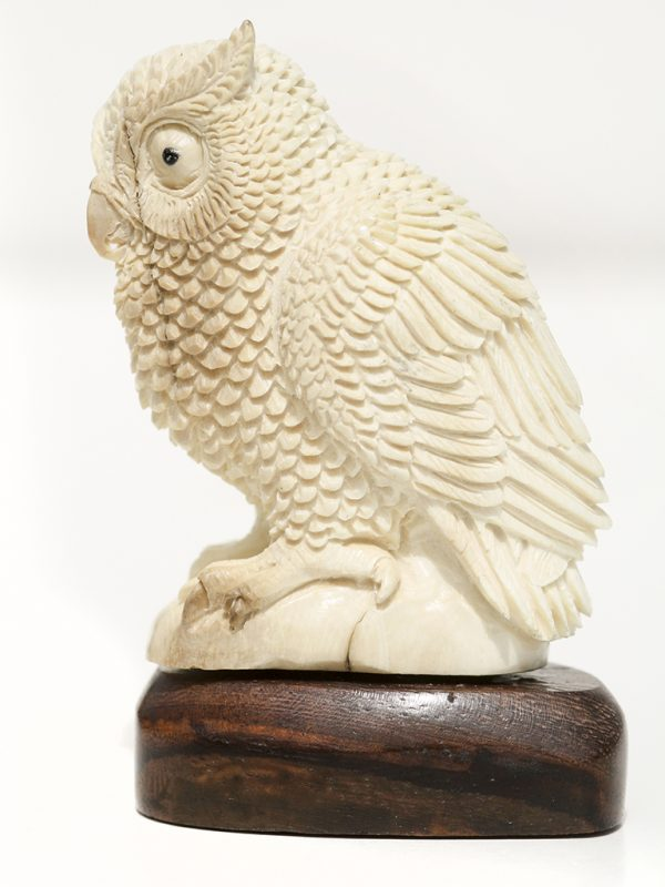 Mammoth Ivory Carving - Perched Owl
