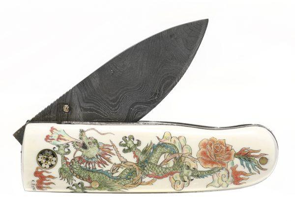 Dragon and Rose Scrimshaw Knife