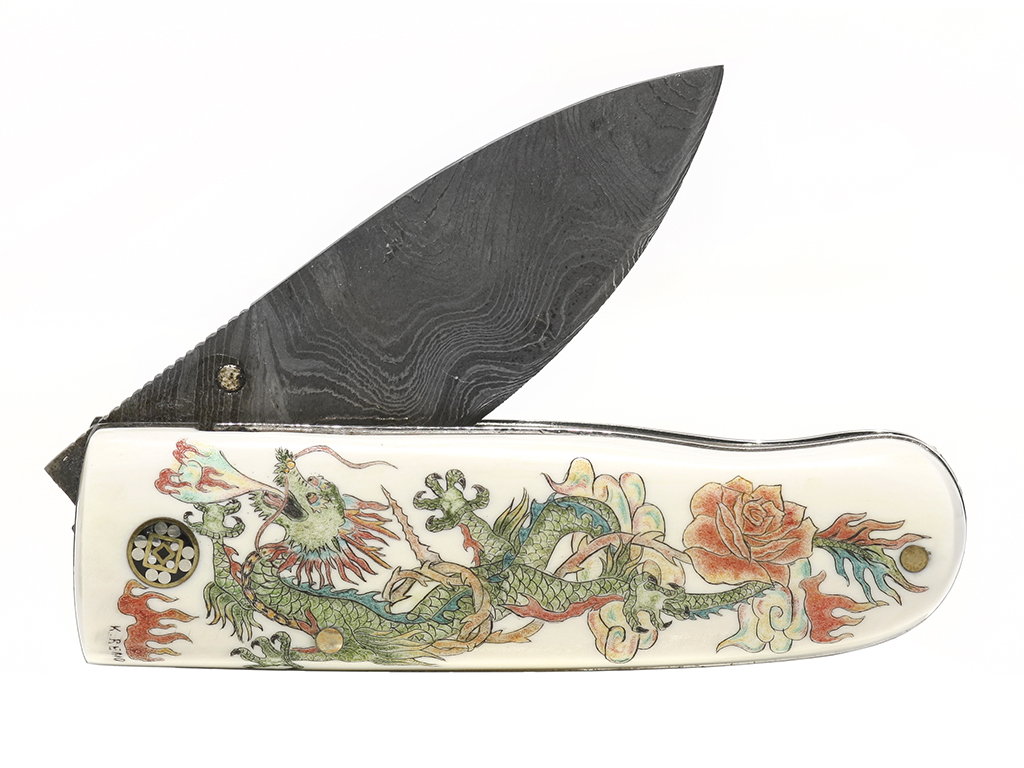Dragon and Rose Scrimshaw Knife