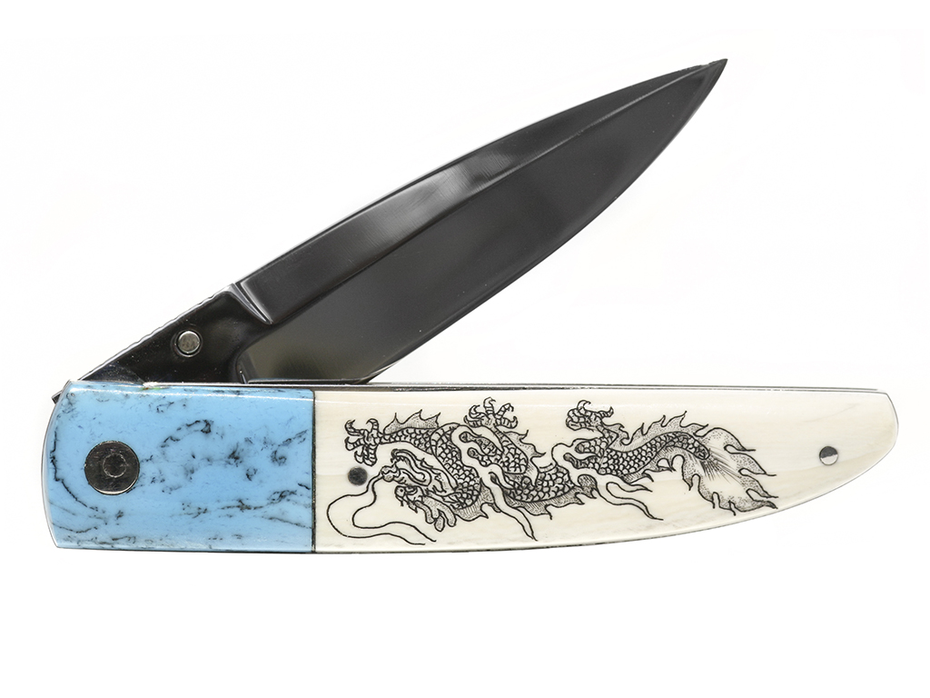 Double Dragons Scrimshaw Knife