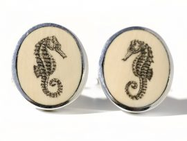 David Smith Scrimshaw - Seahorse Scrimshaw Cufflinks