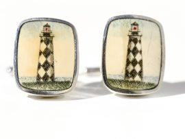 David Smith Scrimshaw - Cape Lookout Lighthouse Scrimshaw Cufflinks