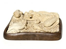 Unknown Carver - Frog Family with Tadpoles