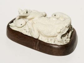 Unknown Artist - Fossil Walrus Jawbone Carving - Frogs and Tadpoles - Scrimshaw Collector